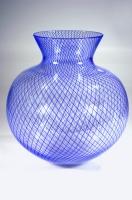 Blue-Reticello-Vase