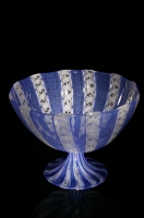 Blue-White-Zanfirico-Cane-Footed-Bowl