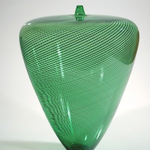 Green-Vase-with-Black-Twisted-Cane