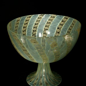 Peach-Mint-Cane-Footed-Bowl