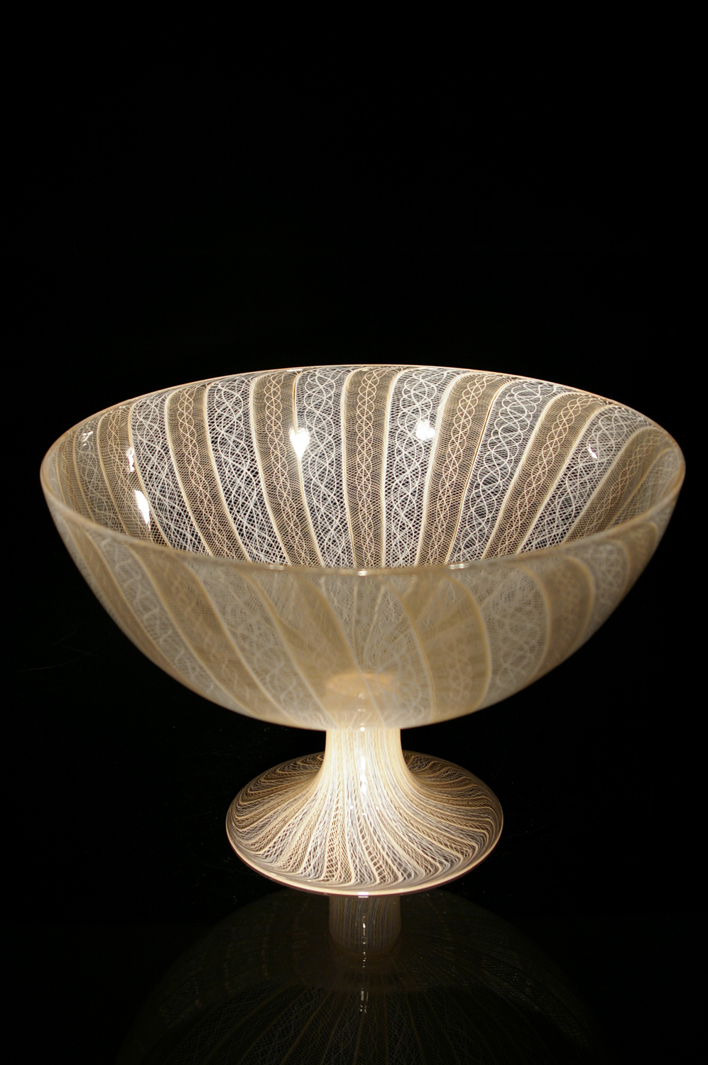 Peach-White-Cane-Footed-Bowl