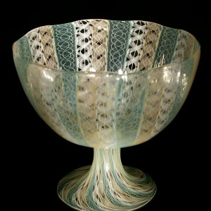 Peach-White-Mint-Cane-Footed-Bowl