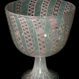 Pink-Mint-Cane-Footed-Bowl