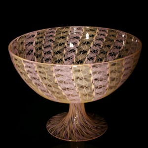 Pink-Peach-Cane-Footed-Bowl