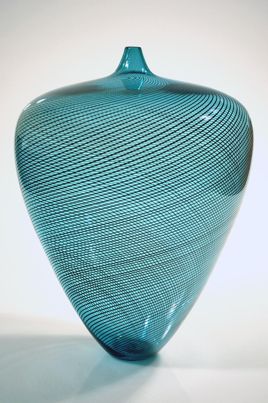 Turquoise With Black Twisted Cane Vase Rubino Glass